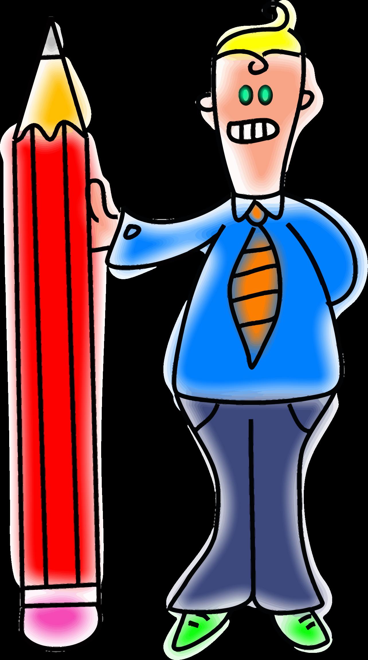 Giant man big image. Pencil clipart cartoon
