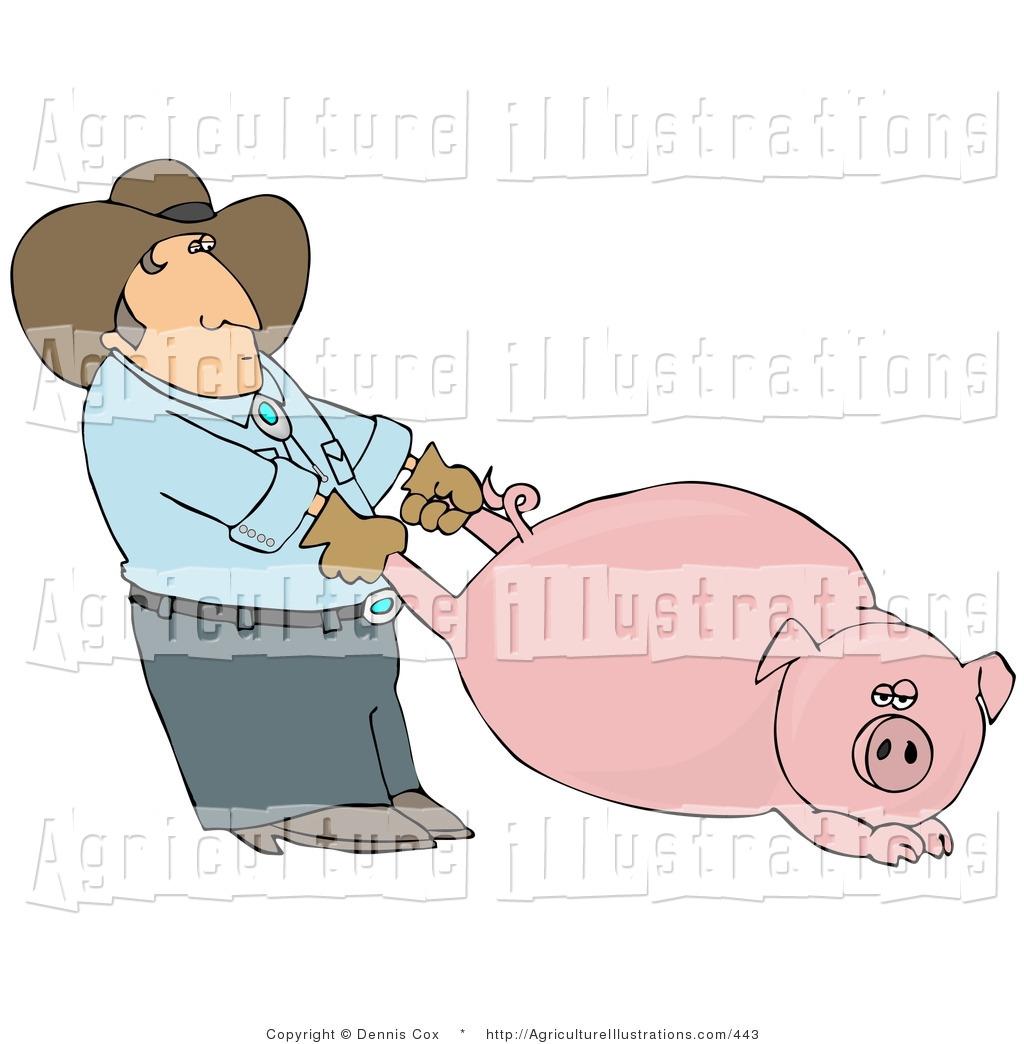 Agriculture of a farmer. Clipart pig man