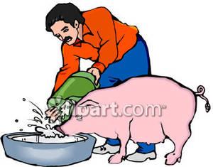 Clipart pig food. A man feeding royalty