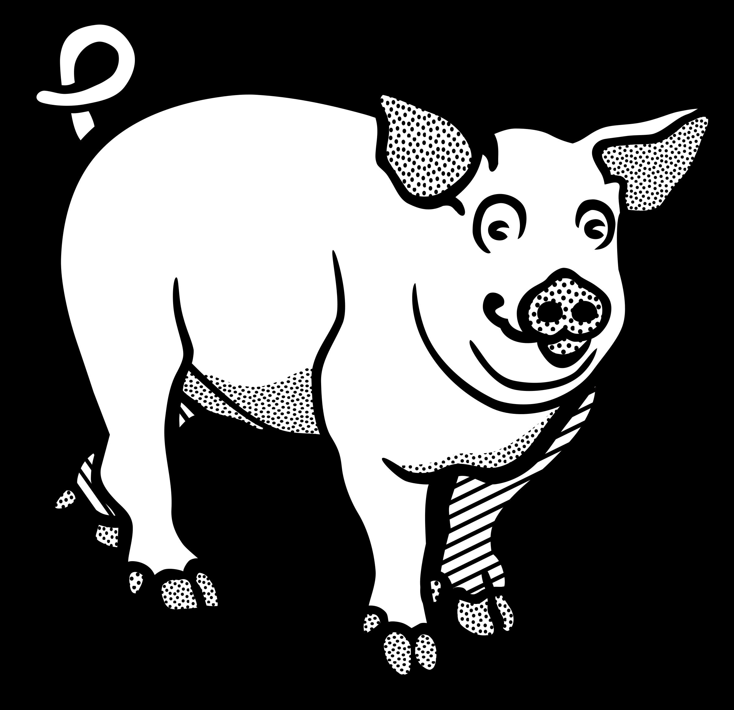 Pigs clipart skeleton. Pig line art image