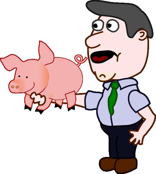 Holding a clip art. Clipart pig man
