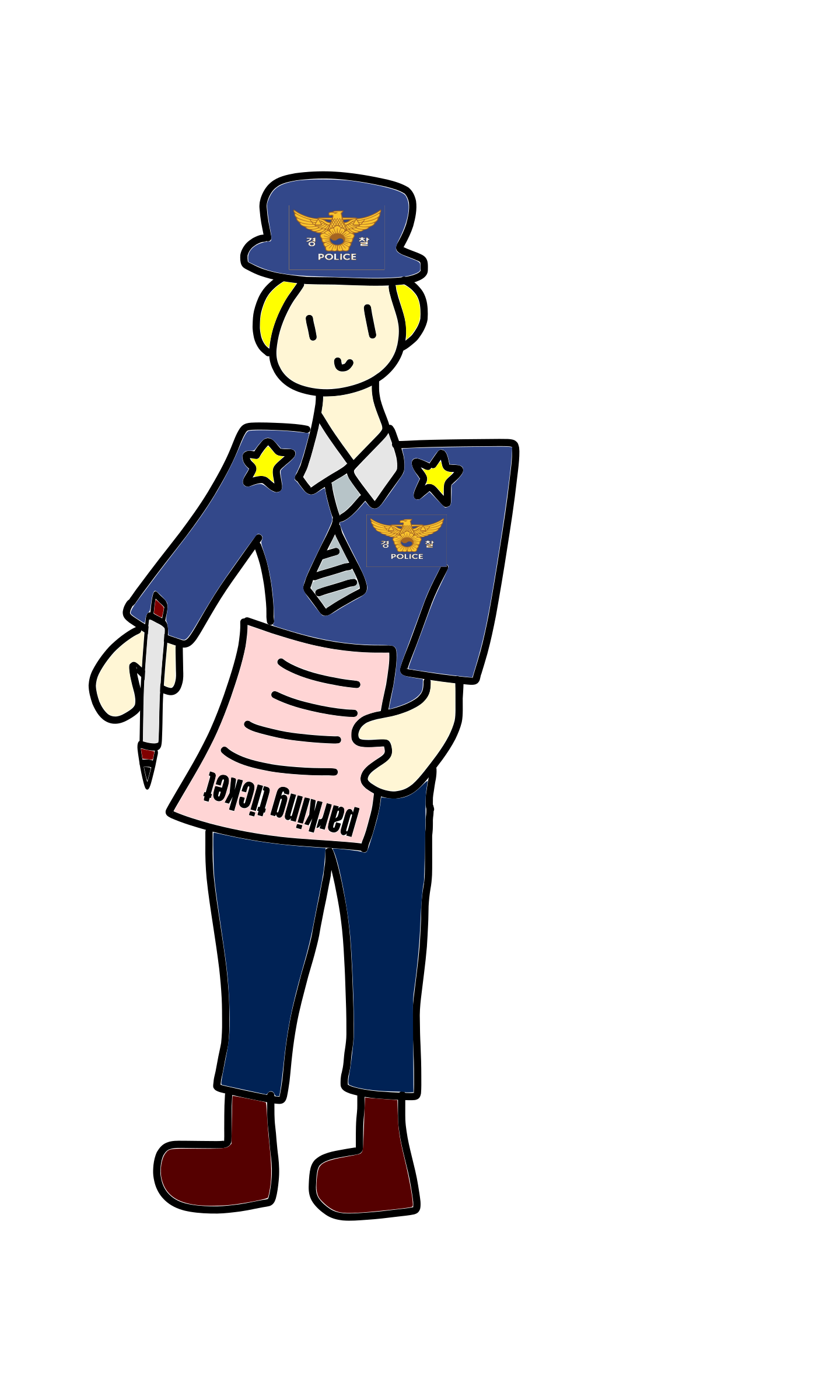 With a parking ticket. Clipart man police officer