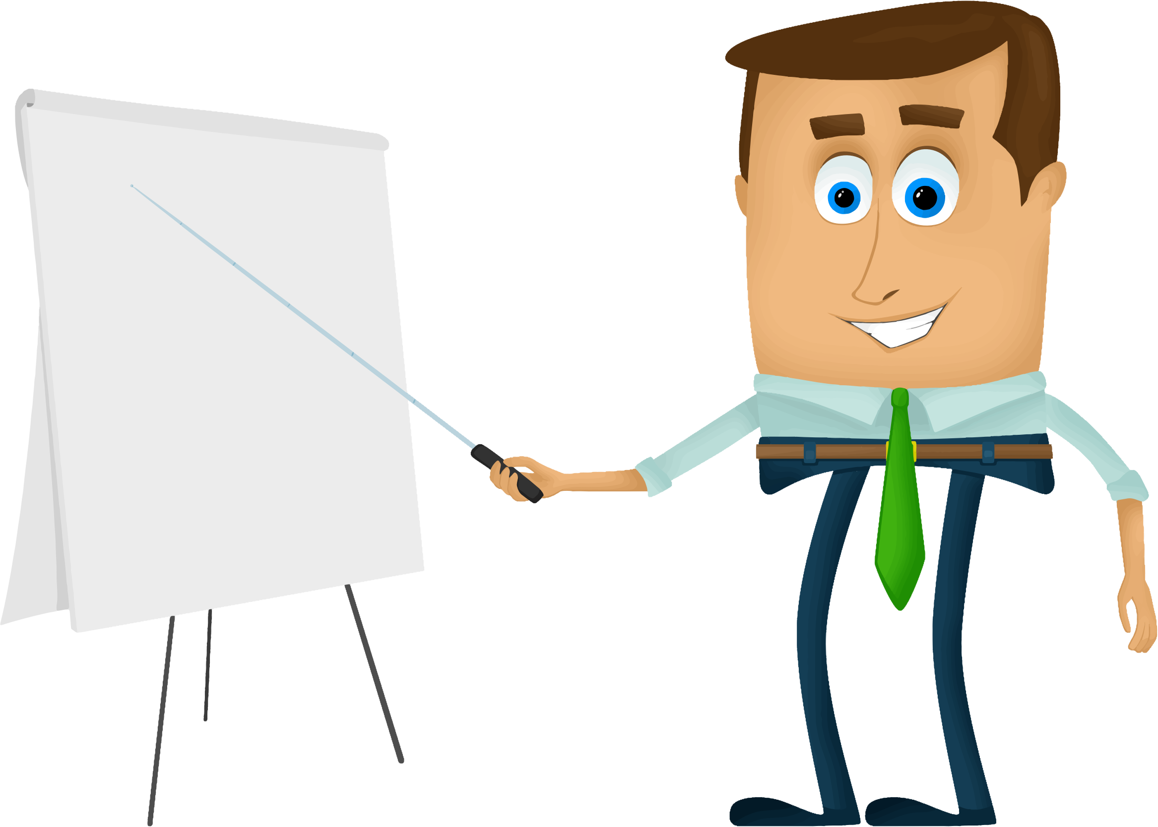 Business cartoon big image. Clipart man presentation