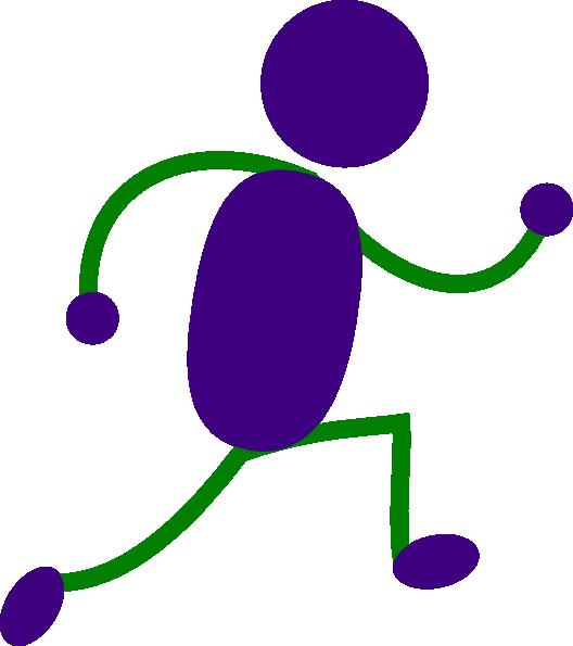 Men clipart green. Running man purple and