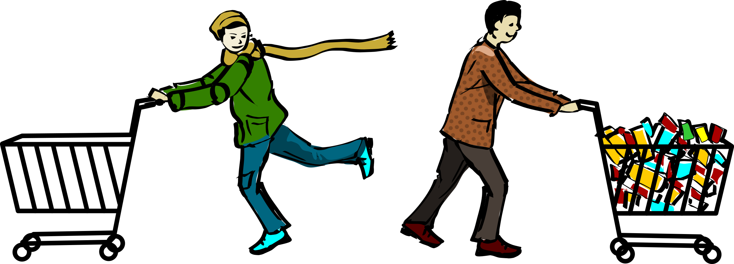 Clipart man shopping. Two men with carts