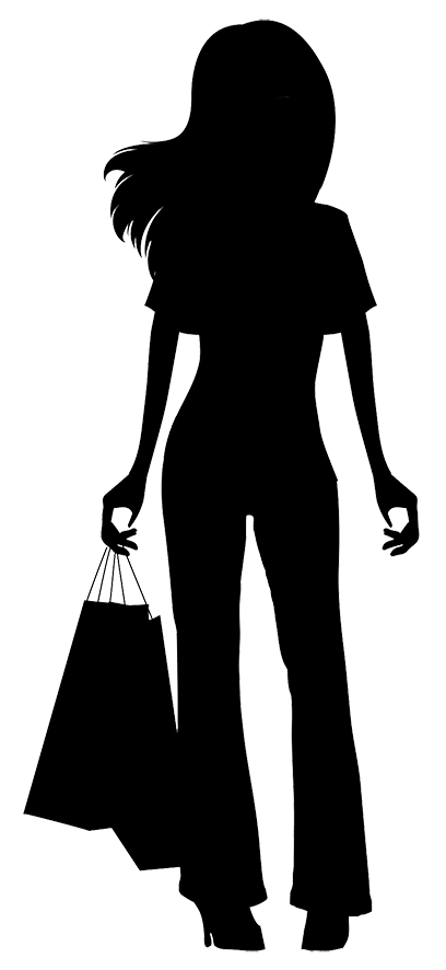 Female clipart shopping. Silhouette at getdrawings com