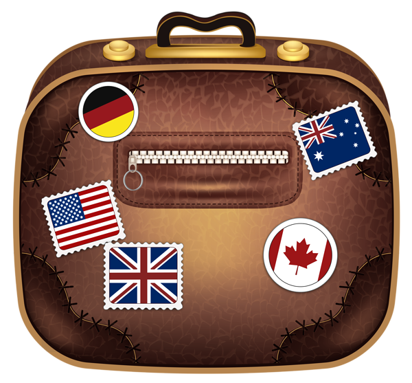 Brown suitcase with flags. Stamp clipart luggage