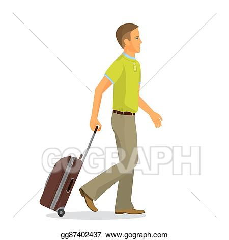 Luggage clipart man. Vector art with suitcase