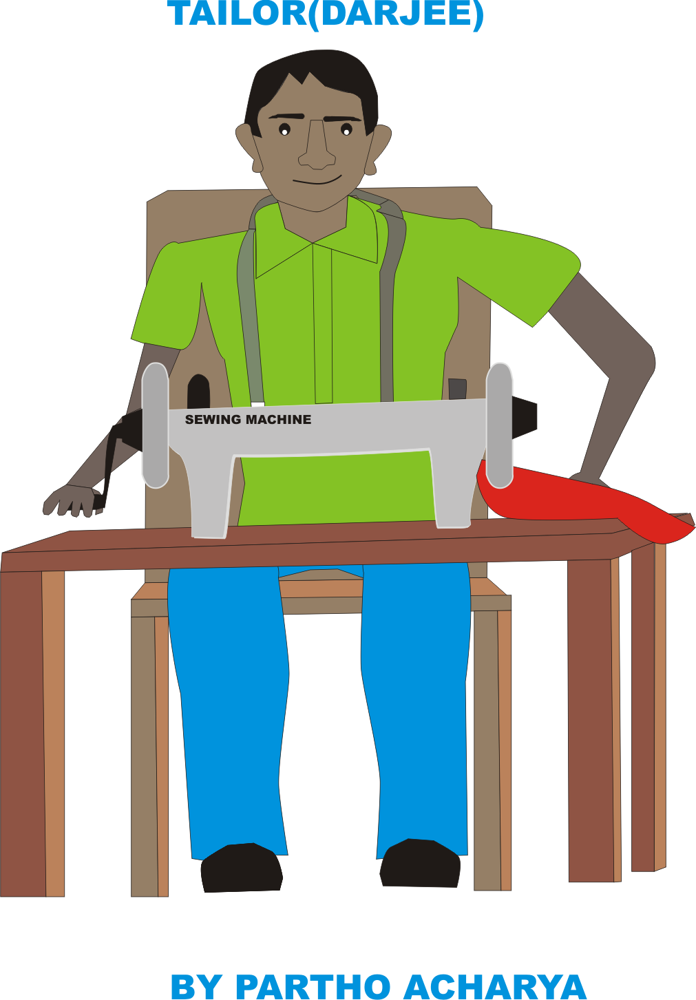 Clipart man tailor. Pencil and in color