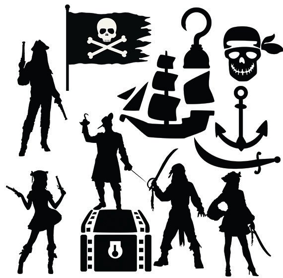 Pirates svg girls and. Pirate clipart silhouette