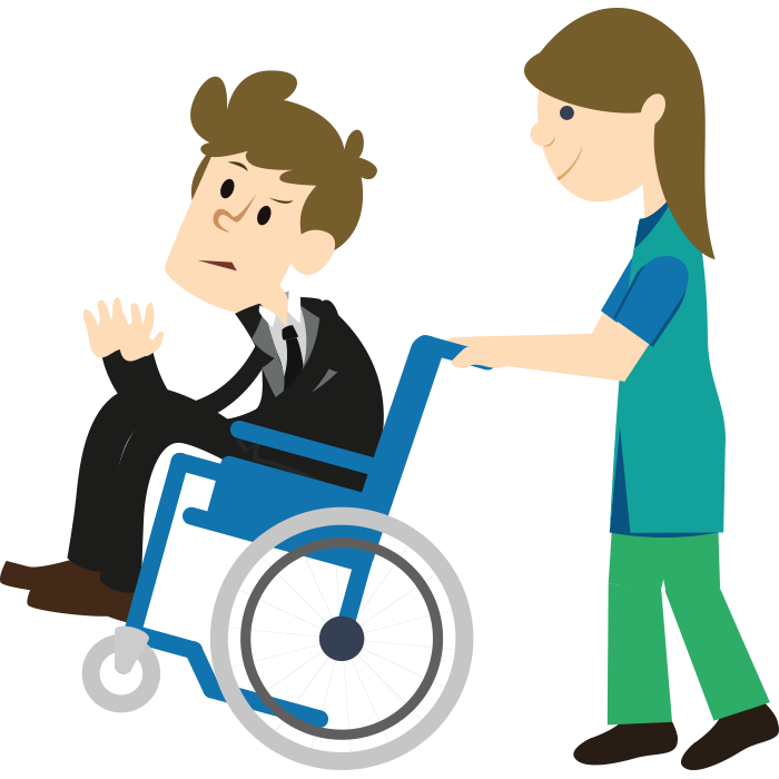 Personal lawyers and attorney. Injury clipart handicap person