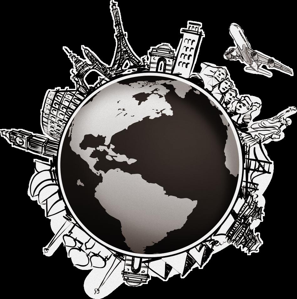 Travel world globe map. Compass clipart adventure