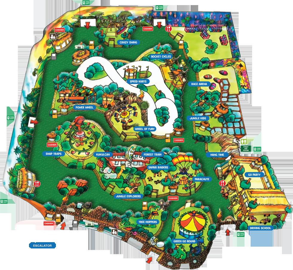 Information adventureland. Clipart map amusement park