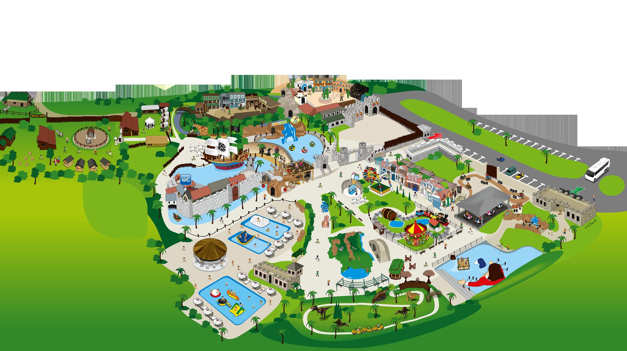 Happy land together . Clipart map amusement park