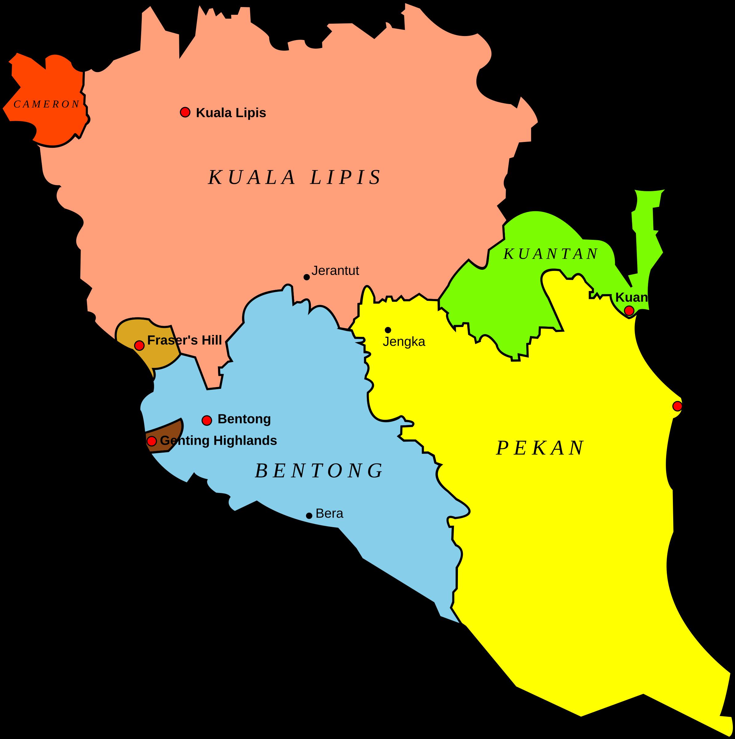 Map of pahang malaysia. Hill clipart bukit