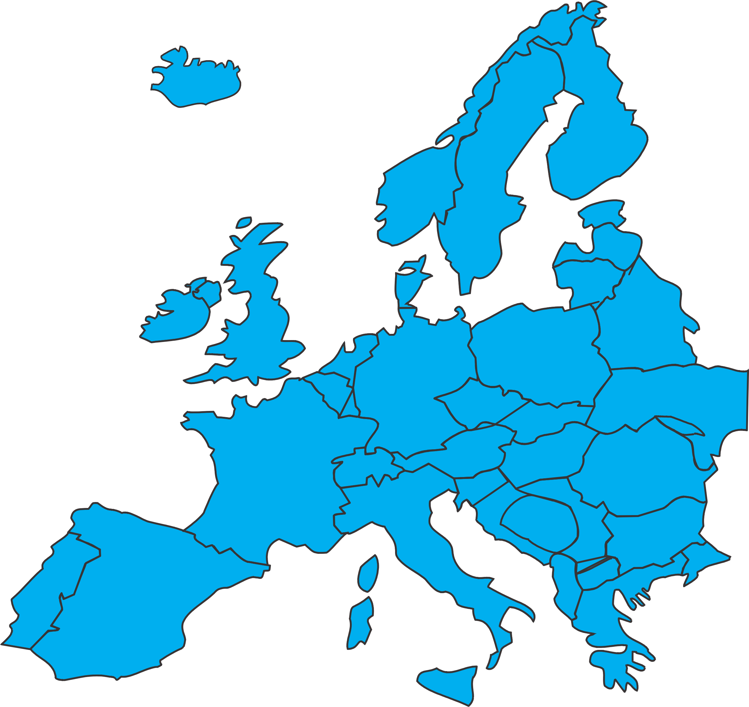 Clipart pencil map. Continent europe and in