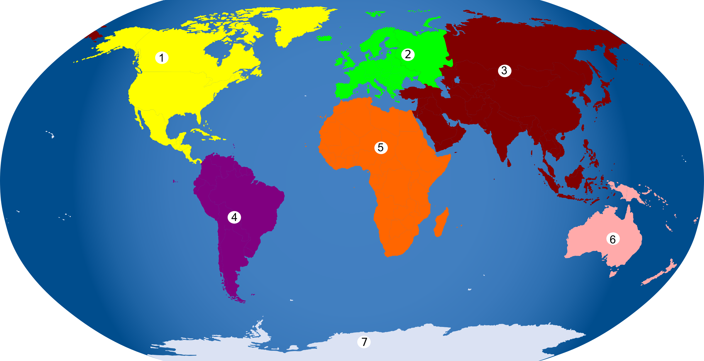Clipart map continent. Continents numbered by binameusl