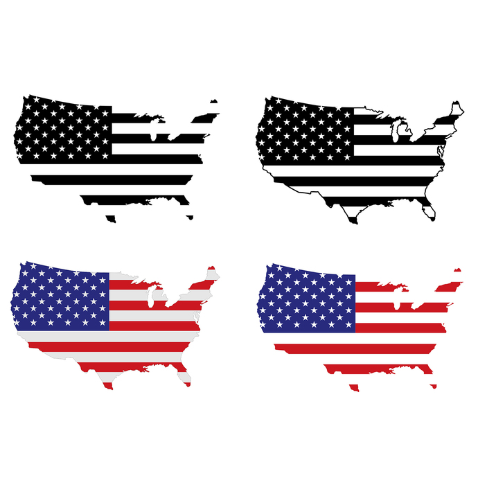 American flag logo map. Usa clipart file