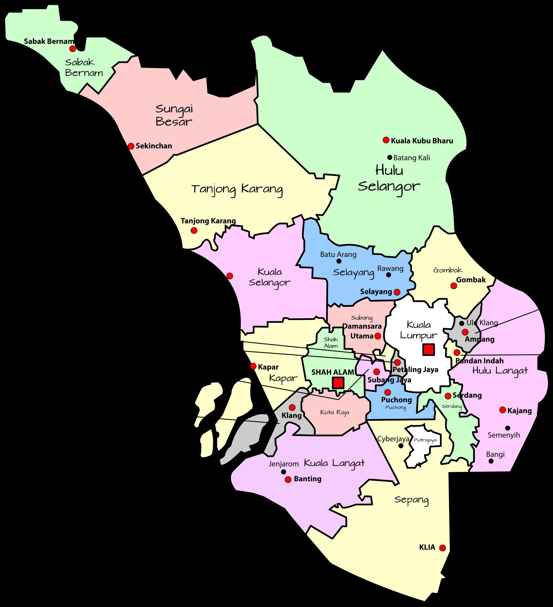 Clipart map editable. Parliamentary of selangor malaysia