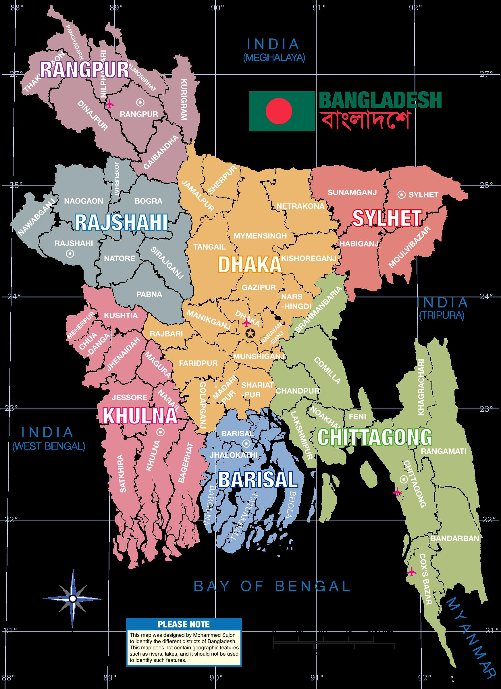 Clipart map editable. Bangladesh district big image
