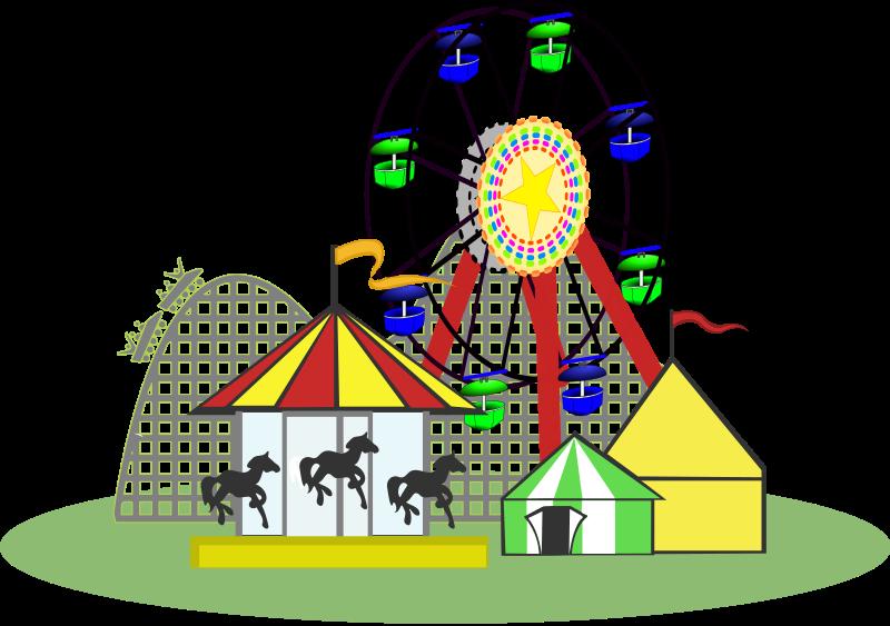 Map family funfair. Gate clipart amusement park