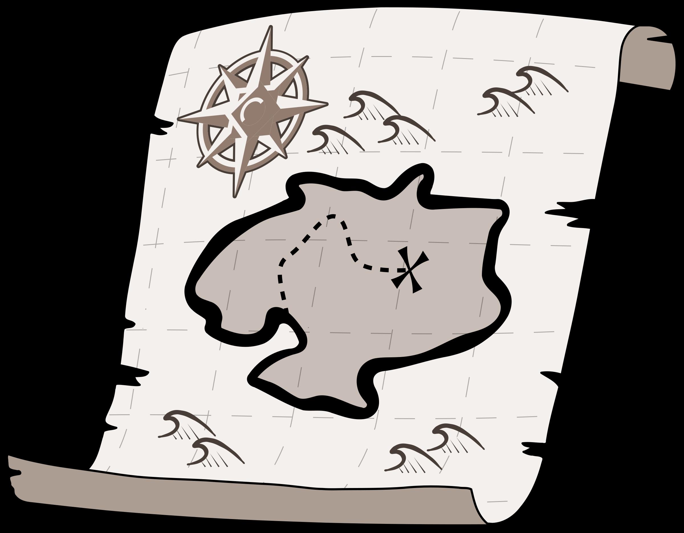 Treasure map big image. Win clipart black and white