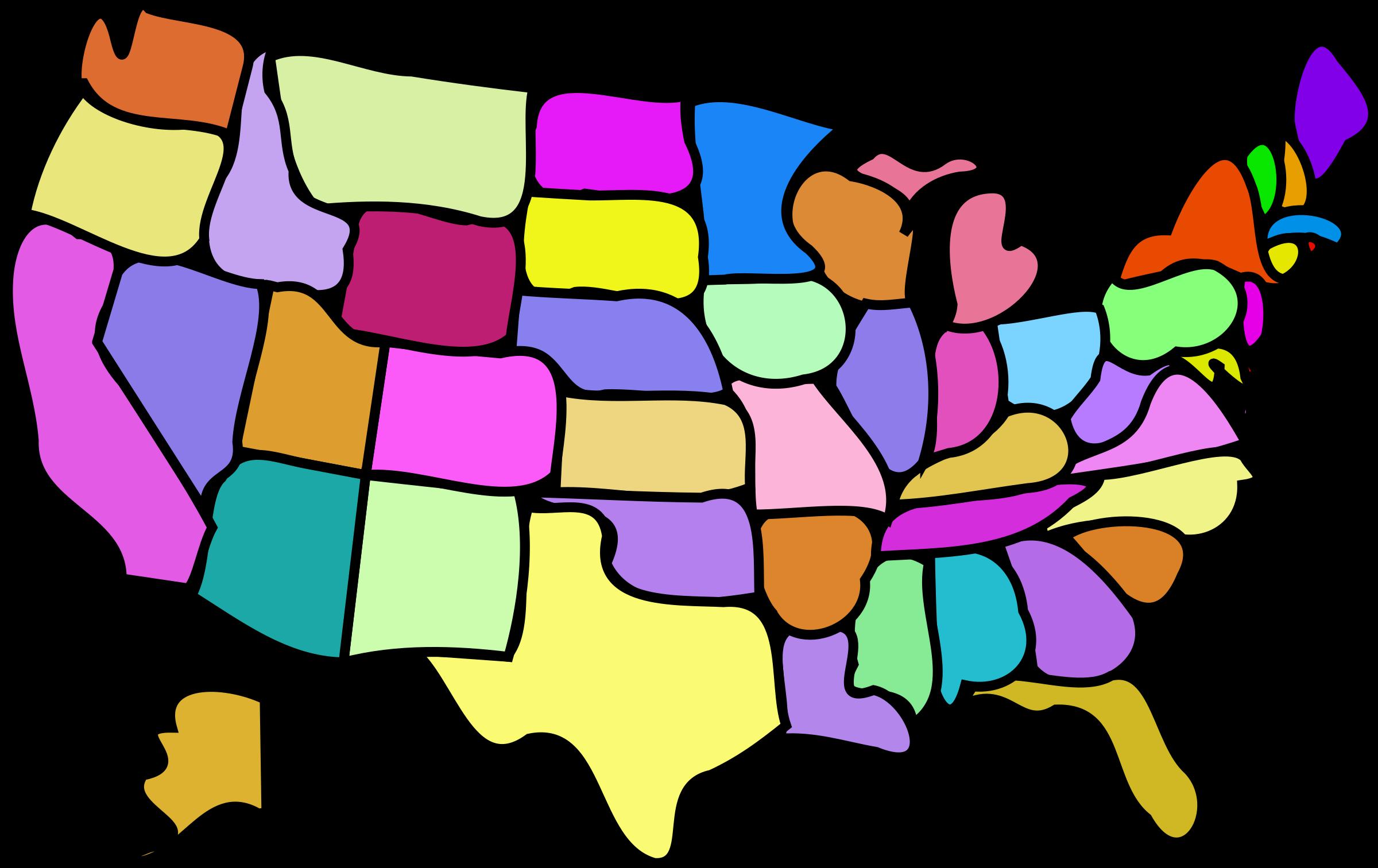 Words clipart geography. U s map cartoony