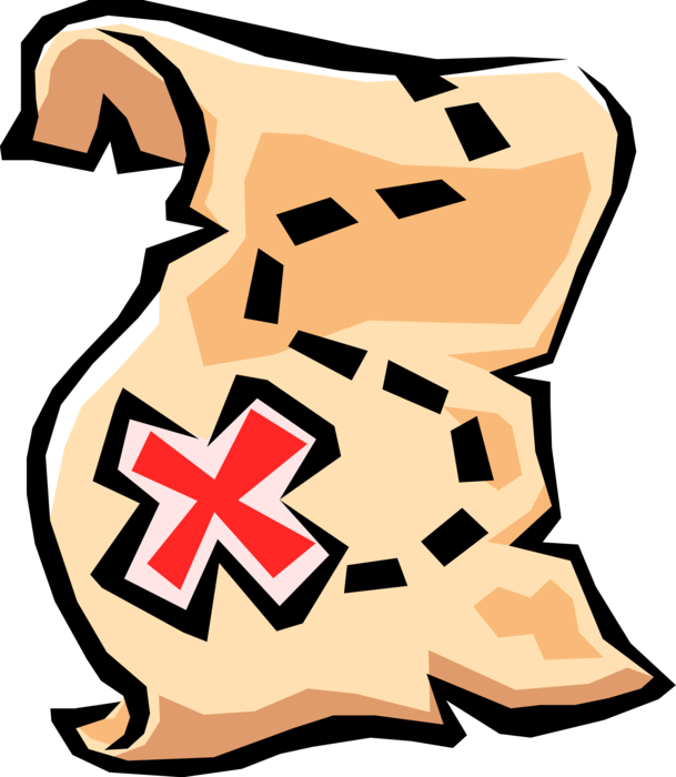 Treasure clipart riches. Map with x marking