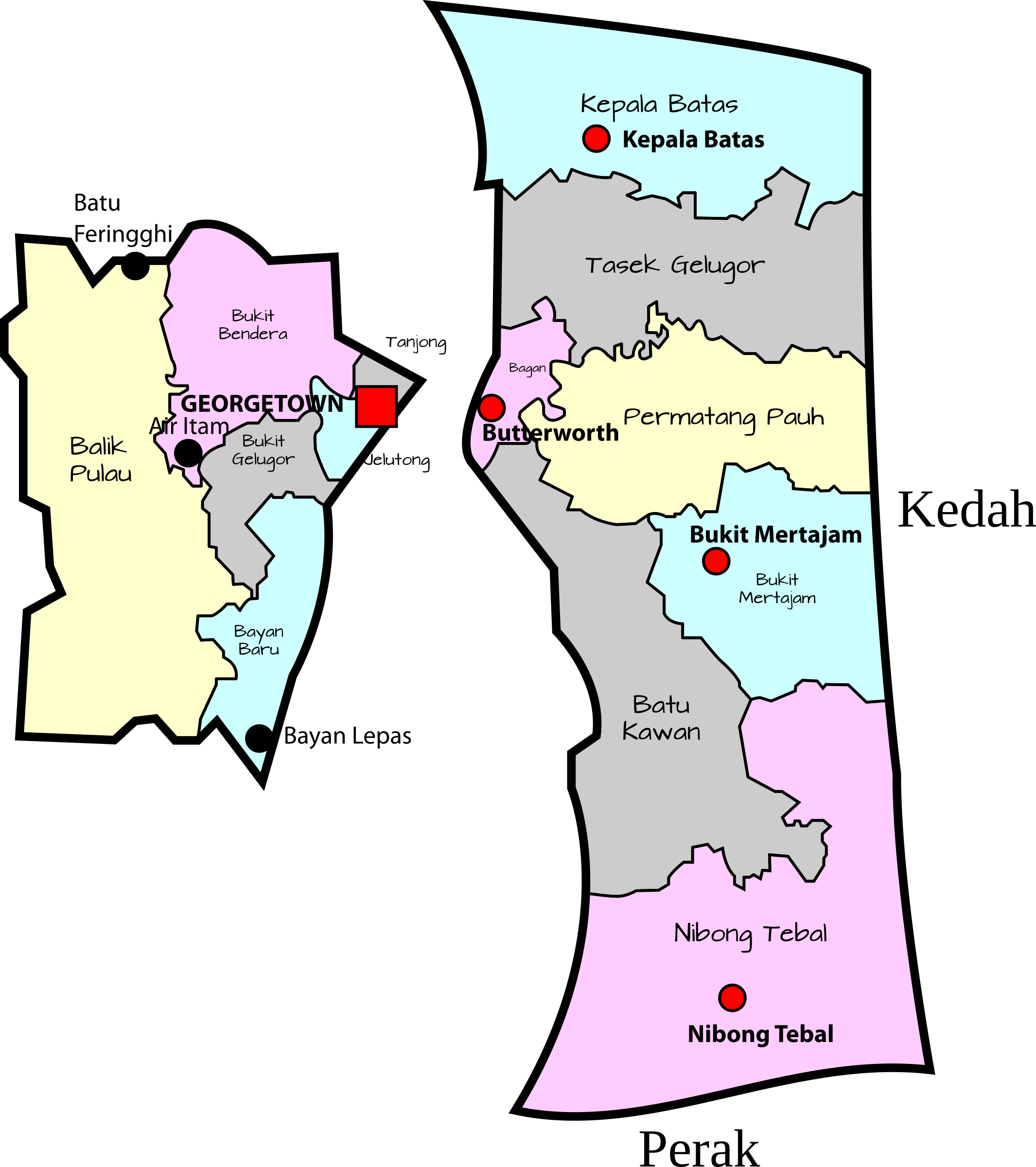 Parliamentary map of penang. Politics clipart gerrymandering