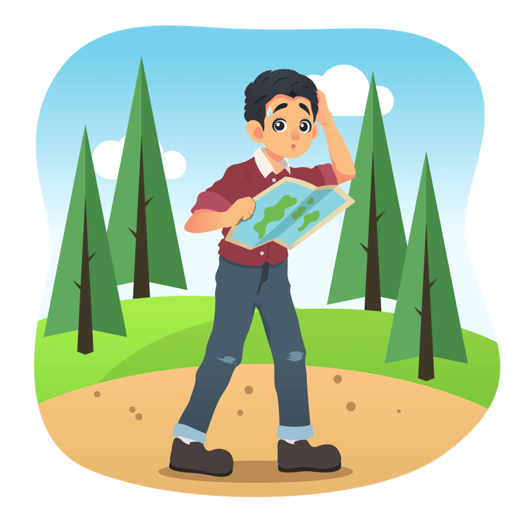 Clipart map lost map. Sketchables man looking with