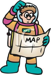 Clipart map lost map. A colorful cartoon of