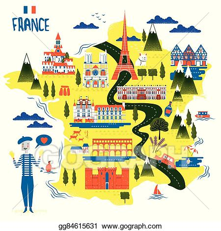 Vector art france travel. French clipart attraction