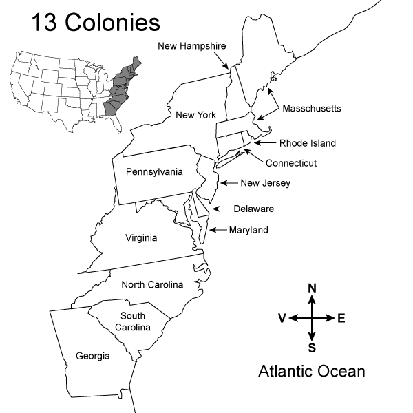 Clipart map nearby.  colonies fill in