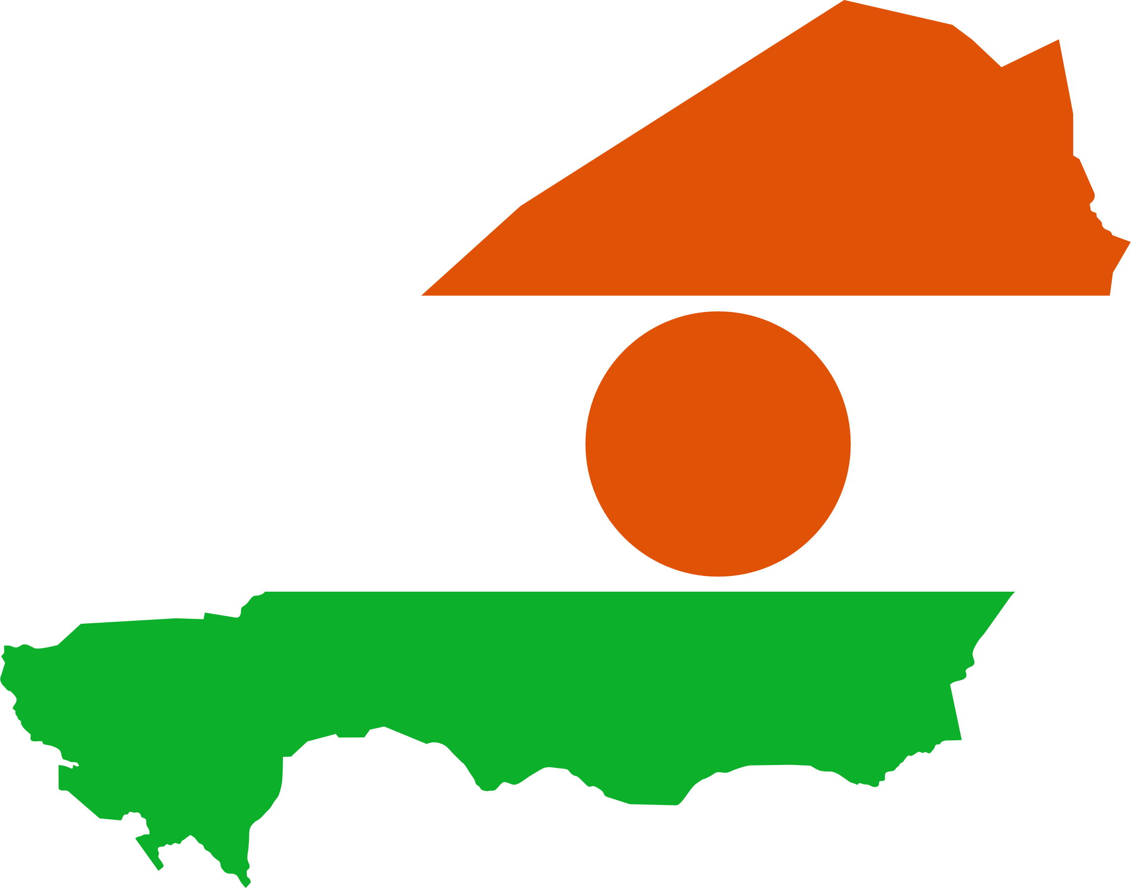 Niger group flag. Clipart map nearby