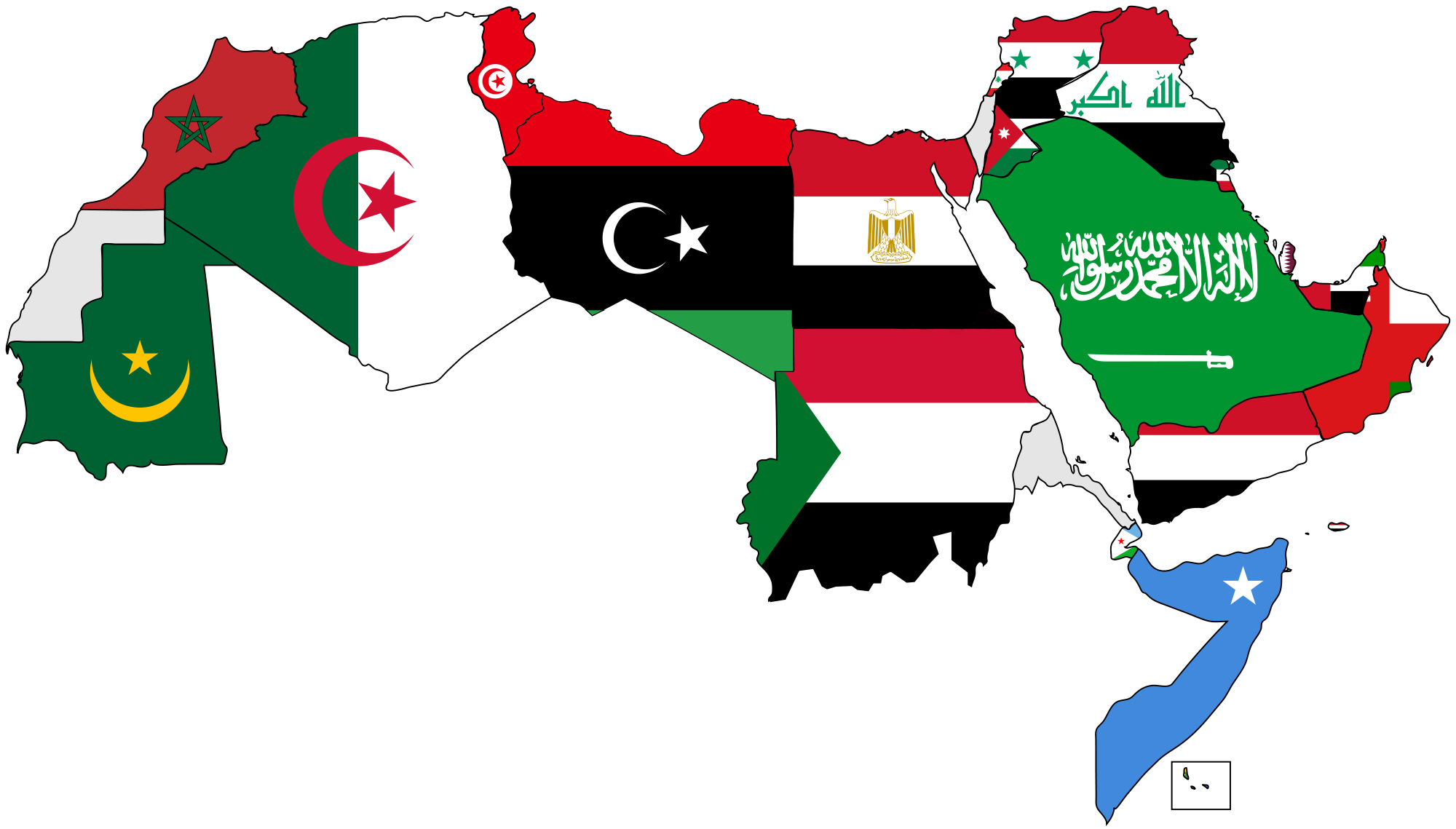 Flag of the arab. Clipart map nearby