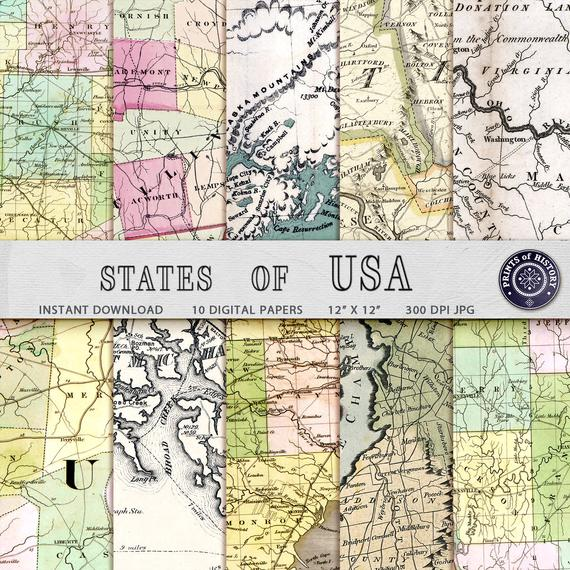 Clipart map paper. Digital from vintage united