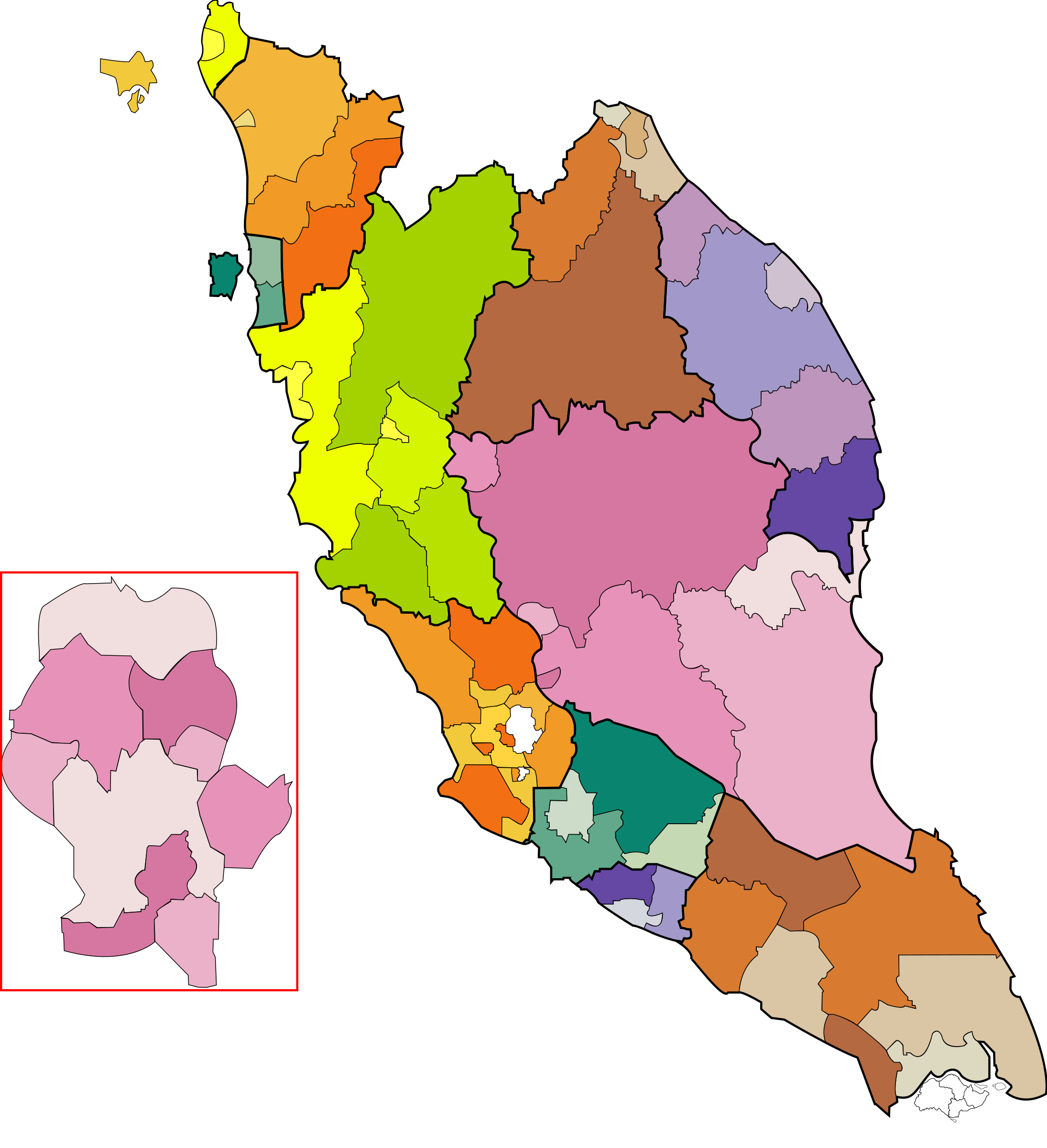 Malaysia and in color. Clipart pencil map