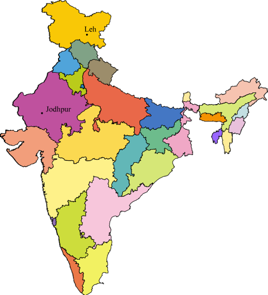 Could anyone show jodhpur. India clipart map bharat
