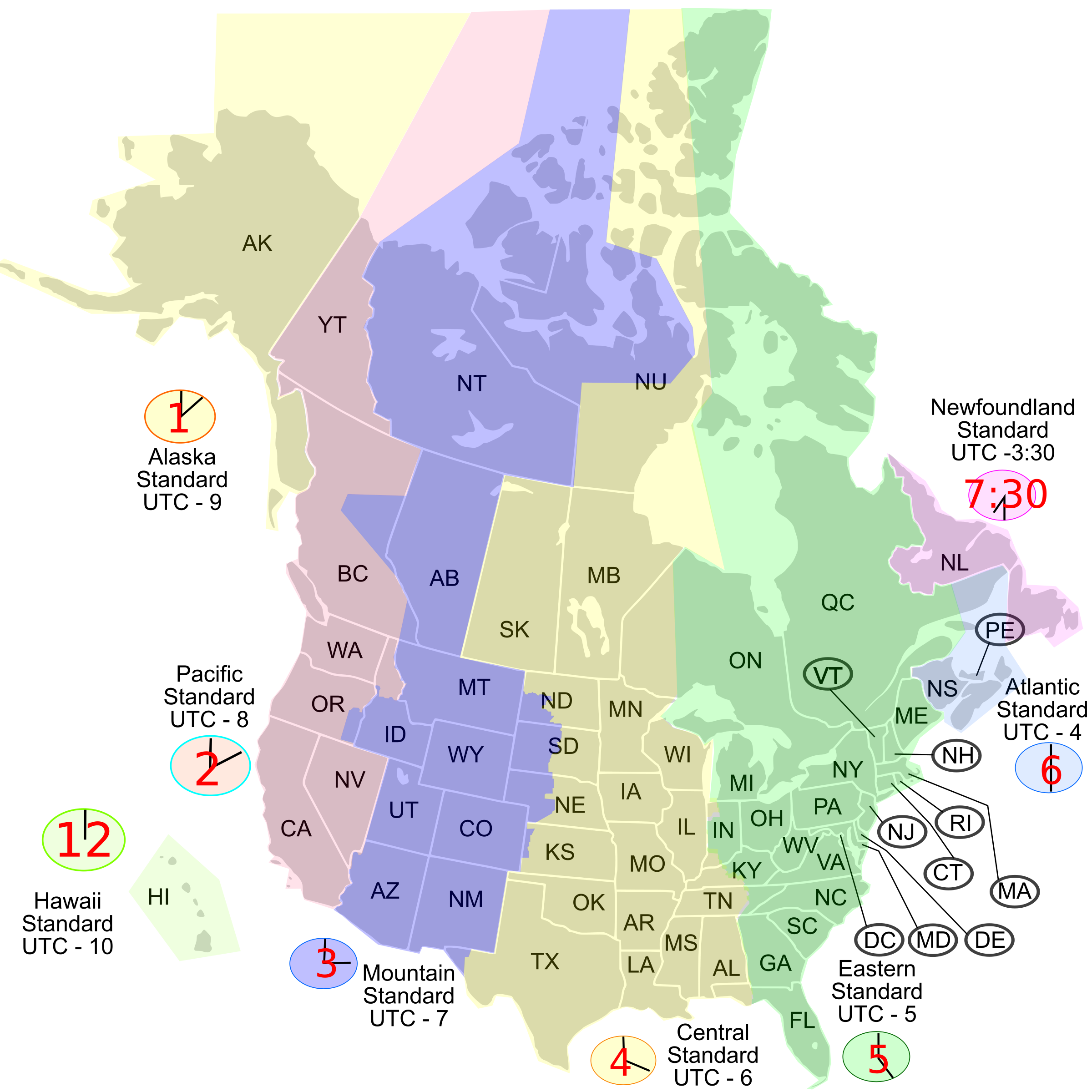 Usa canada time zone. Clipart map printable