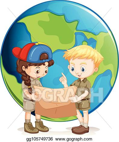Vector illustration boy and. Clipart map scout map
