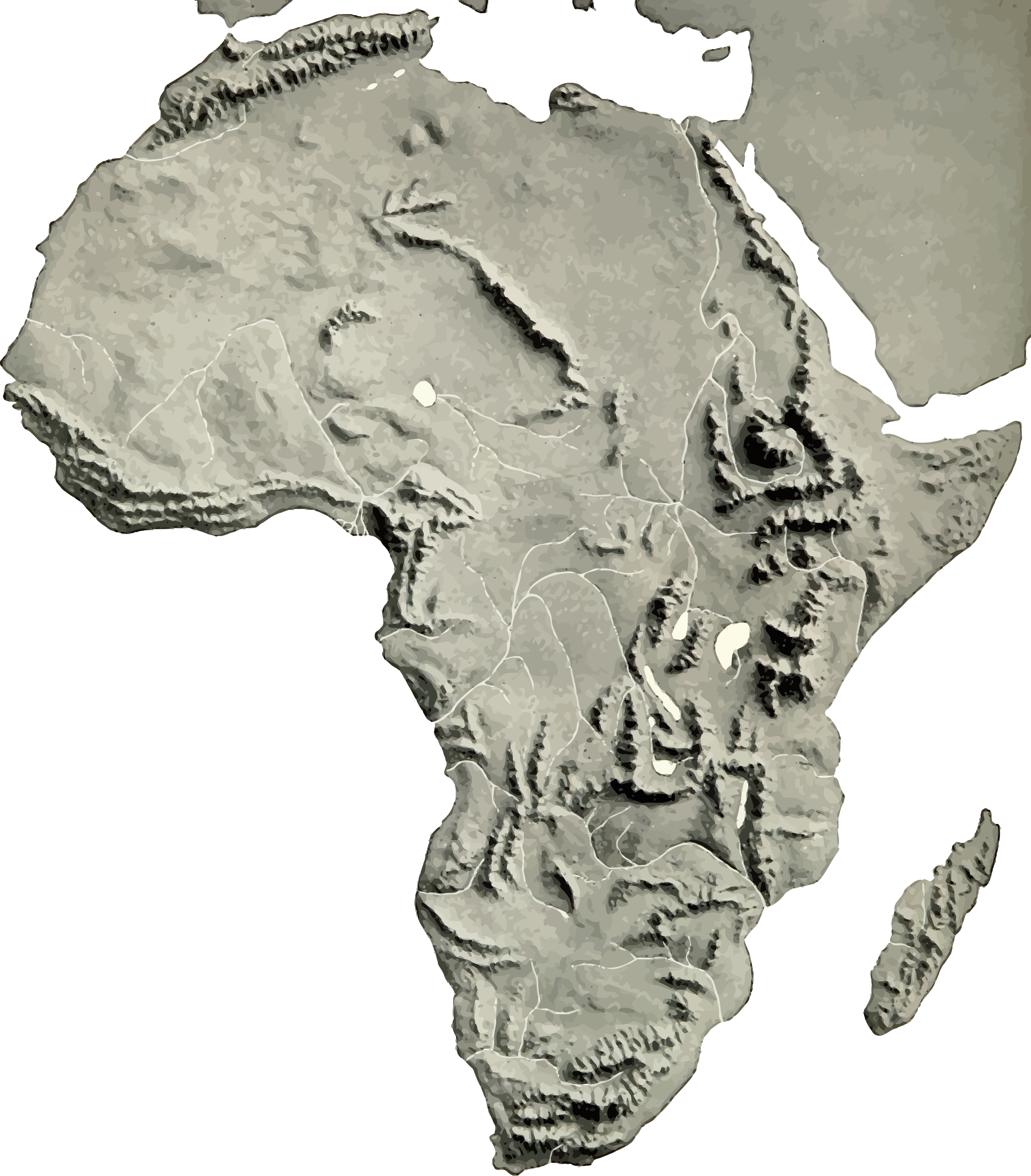 Geography clipart illustration. Africa relief map big