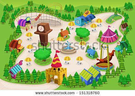 Amusement map google search. Park clipart simple park