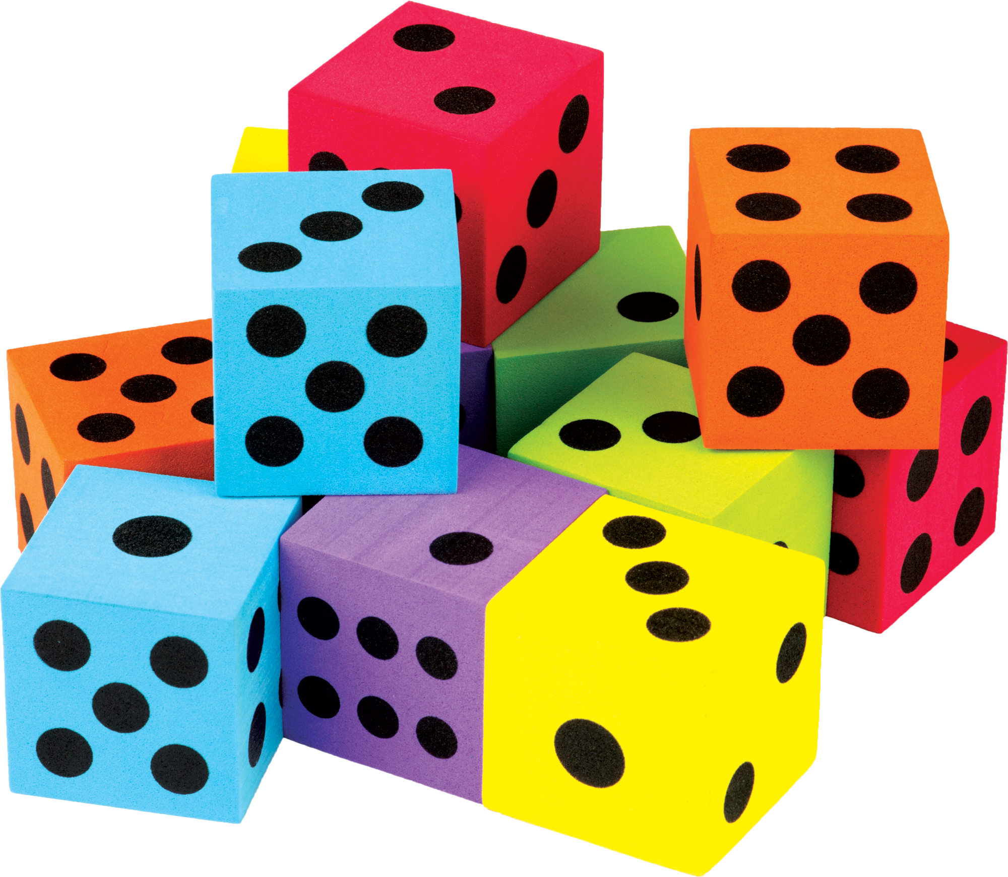 Colorful large dice pack. Multiplication clipart math fair
