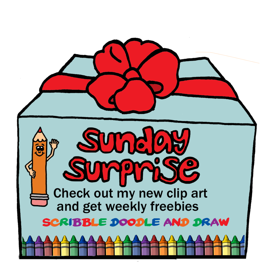 Surprise clipart banner. Sunday free scribble doodle