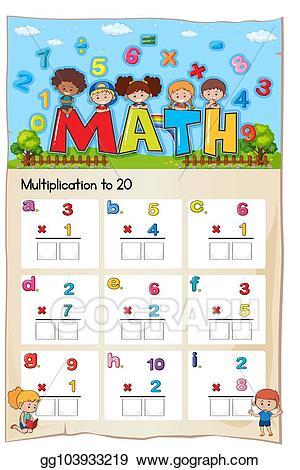 Eps illustration worksheet number. Multiplication clipart math exam