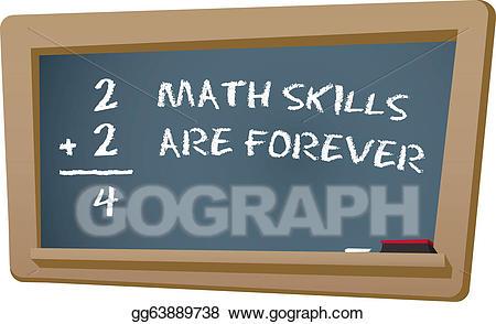 Math clipart math skill. Vector skills chalkboard illustration