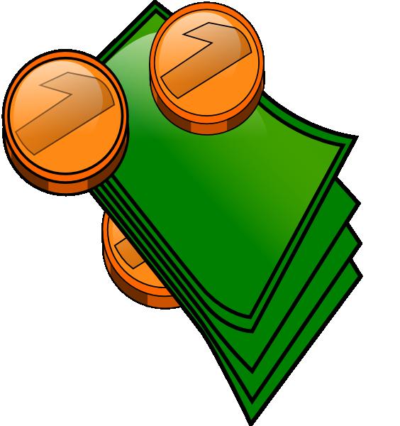 Coins and bills clip. Clipart math money