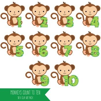 Monkeys clipart number. Monkey numbers to math
