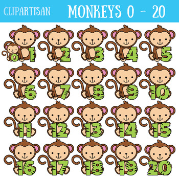 Monkey numbers to . Monkeys clipart number