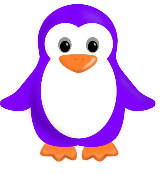 Purple penguin clip art. Clipart penquin colored